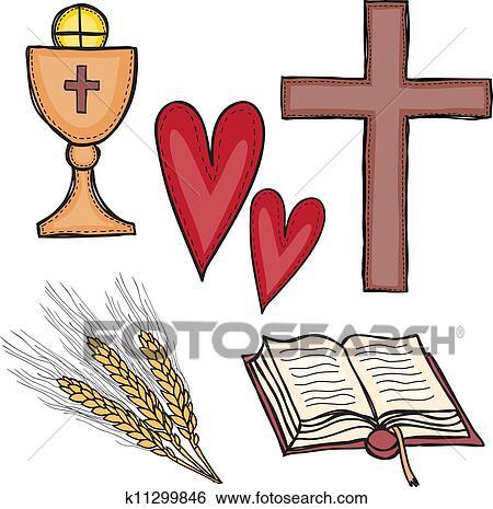 Clip Art Of Set Of Religious Symbols K11299846 Search Clipart