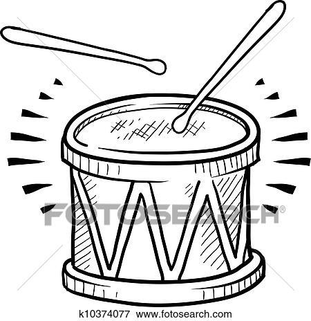 Clip Art Of Snare Drum Sketch K10374077