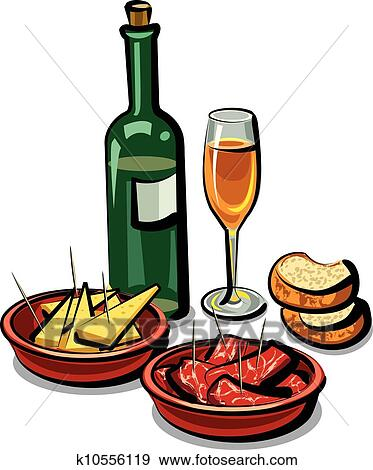 clip art of spanish appetizers and wine k10556119 search clipart rh fotosearch com french wine and cheese clipart Wine Bottle Clip Art
