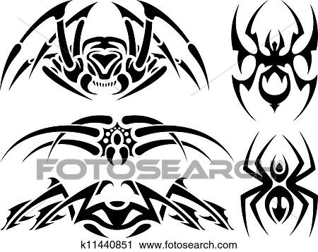 clipart of spider tattoo set k11440851 search clip art rh fotosearch com tattoo clipart meaning tattoo clip art free images