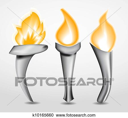 Clipart Of Torch With Flame K10165660