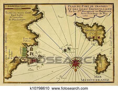 Stock Illustrations of Trapani Favignana and Levanzo old map
