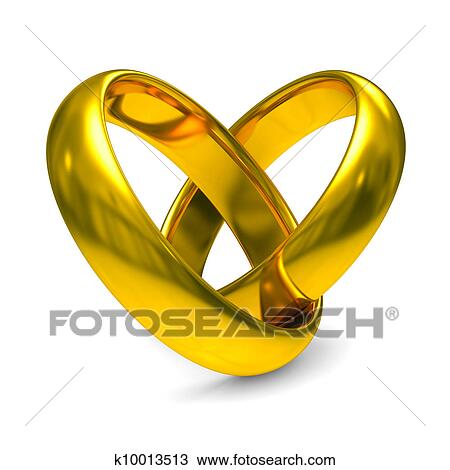 Drawing Of Two Gold Wedding Rings Isolated 3D Image K10013513