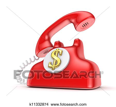 Drawings Of Vintage Telephone With Golden Dollar Sign K11332874