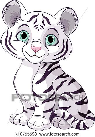 clip art of white tiger cub k10755598 search clipart illustration rh fotosearch com  free black and white tiger clipart