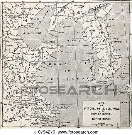 Stock Illustrations of Yellow sea coast map k10794270 Search