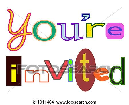 drawings of you re invited k11011464 search clip art illustrations rh fotosearch com you are invited free clipart you're invited animated clipart