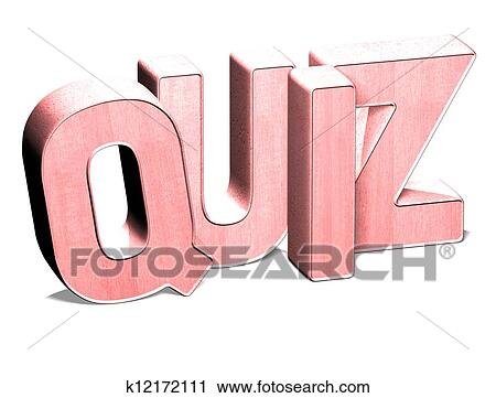Art Quiz : Clipart of 3d word quiz on white background k12172111 search clip