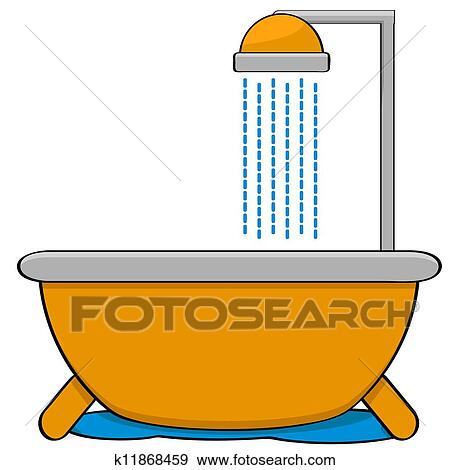 clip art of bathtub with shower k11868459 search clipart rh fotosearch com baby shower clip art border shower clipart