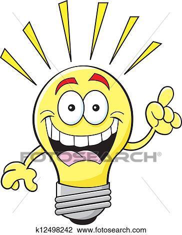 Clipart Of Cartoon Light Bulb With An Idea K12498242