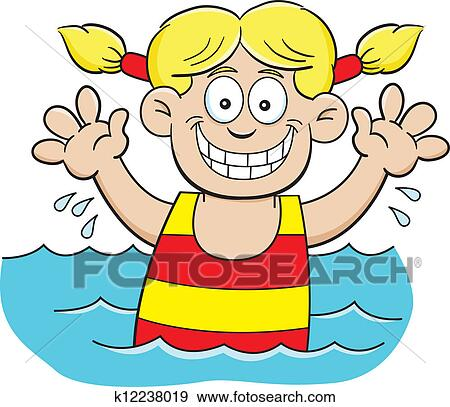clip art of cartoon swimming girl k12238019 search clipart rh fotosearch com clipart of a girl stagecoach clip art of a girl sitting in a desk
