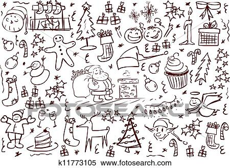 Clipart Of Christmas Symbols Doodles K11773105 Search Clip Art
