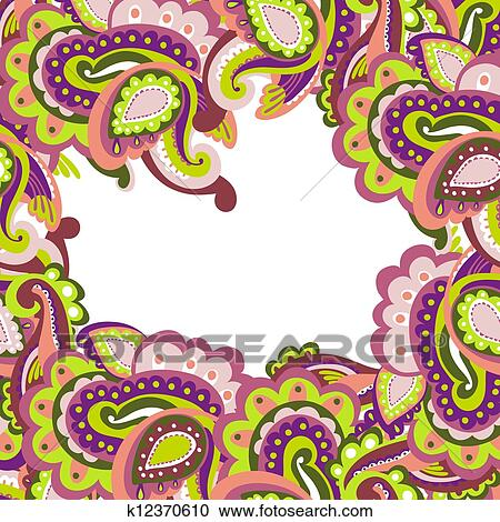clipart of colorful paisley frame k12370610 search clip art rh fotosearch com paisley clip art images paisley clip art free