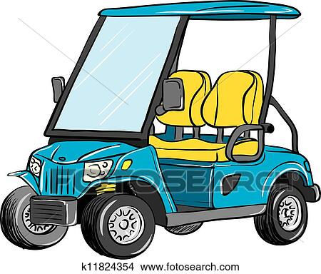 clipart of electric golf cart k11824354 search clip art rh fotosearch com golf cart clip art cartoon lady driving golf cart clip art