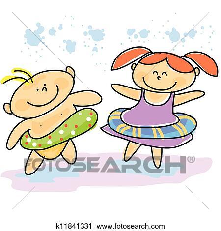 clipart of hand drawn cartoon kids swimming k11841331 search clip rh fotosearch com  kids swimming clipart free