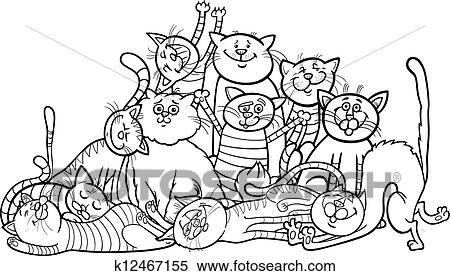 Clipart of happy cats group cartoon for coloring book k12467155 ...