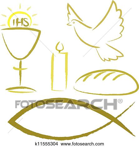 Clipart Of Holy Communion Religious Symbols K11555304 Search