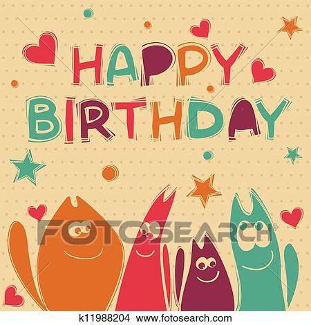 Clipart of illustration for happy birthday card k11988204 search birthday card with 4 cats bookmarktalkfo Gallery