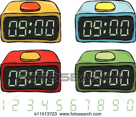 Clipart of Digital clock doodle k11513723 - Search Clip ...