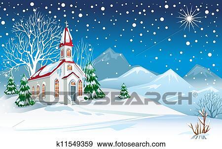 剪贴画 - 冬天风景, 带