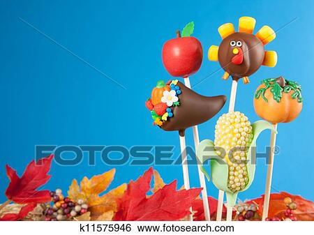 Thanksgiving Cake Clip Art : Stock Images of Thanksgiving cake pops k11575946 - Search ...