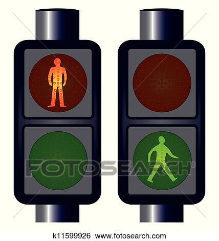 Clip Art of Walking Man Traffic Lights k11599926 - Search Clipart ...