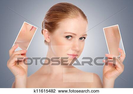 La persona in posti alla ragazza di una fotografia