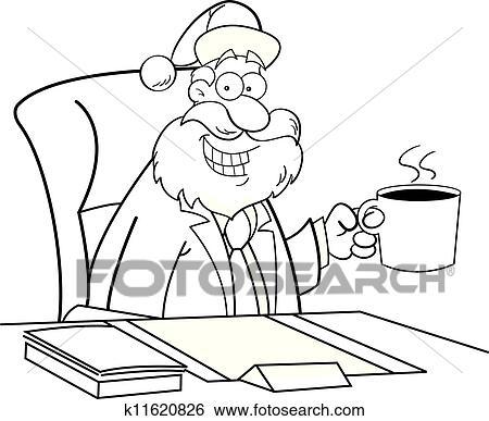 剪贴画 卡通漫画, 圣诞老人, 喝咖啡图片