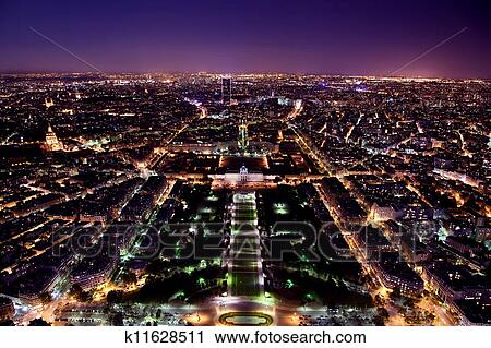 Stock Photography Of Paris Panorama France At Night