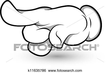 Clip Art of Cartoon Hand Finger Pointing Vector k11635786 - Search ...