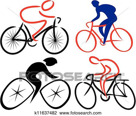 Clipart cycliste cycliste silhouettes k11637482 - Cycliste dessin ...