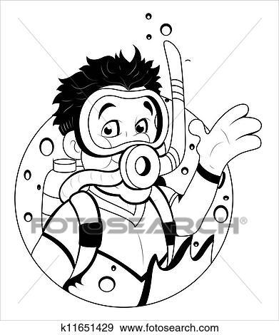 剪贴画 卡通漫画, 水下呼吸器潜水员