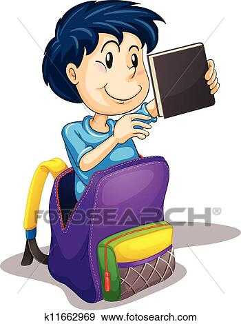Clip Art of a boy in the school bag k11662969 - Search Clipart ...