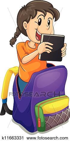 Clipart of a girl in the school bag k11663331 - Search Clip Art ...