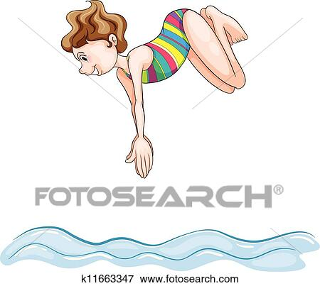 Person diving into water clipart