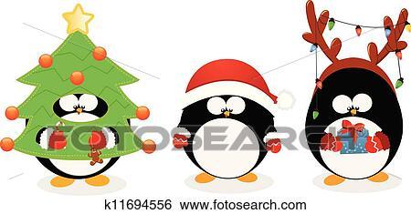 clip art weihnachten pinguin satz k11694556 suche. Black Bedroom Furniture Sets. Home Design Ideas