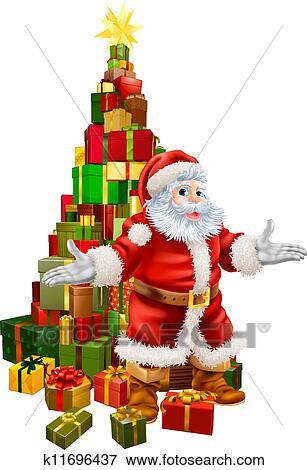 剪贴画 - 圣诞老人, 圣诞树