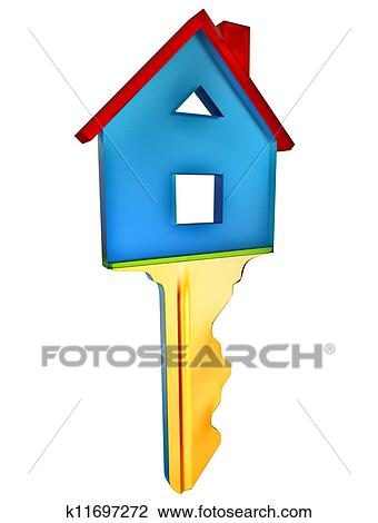 Clip Art of key for a new home k11697272 - Search Clipart ...