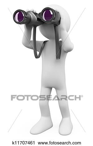 Clipart of 3D white people. Binoculars k11707461 - Search Clip Art ...