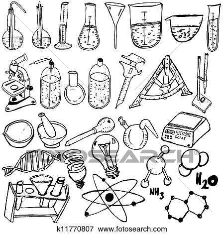 Clip Art of Science icons sketch k11770807 - Search Clipart ...