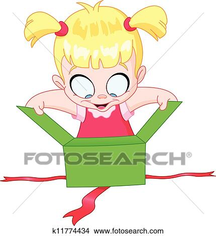 Clipart of Girl open gift k11774434 - Search Clip Art ...
