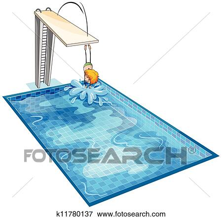 Clip art of a boy in a swimming pool k11780137 search for Swimming pool drawing