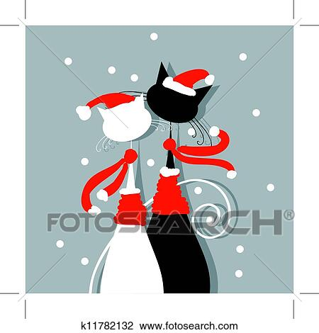 Clip Art of Christmas Eve. Couple of santa cats together k17335326 ...