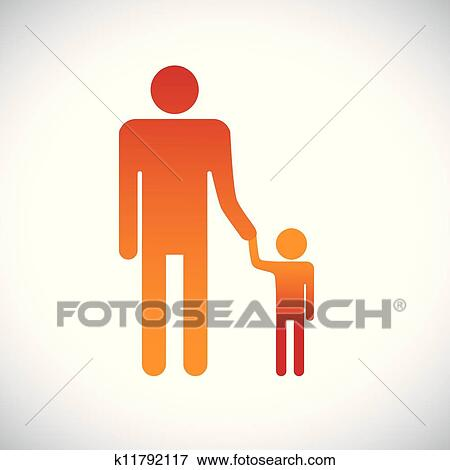 Clip Art of Illustration of father & son holding together. This ...
