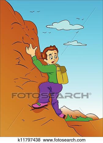 clipart gar on escalade a montagne illustration k11797438 recherchez des cliparts des. Black Bedroom Furniture Sets. Home Design Ideas