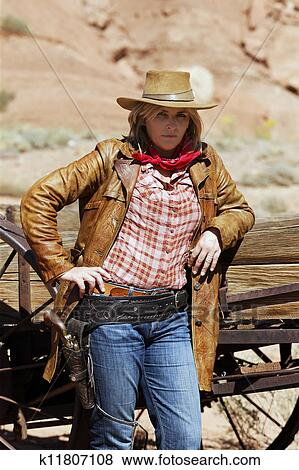 Pictures Of Portrait Of Beautiful Cowgirl K11807108