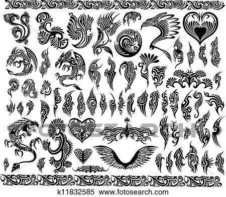 clipart drachen umrandungen rahmen t towierung satz k11832585 suche clip art. Black Bedroom Furniture Sets. Home Design Ideas