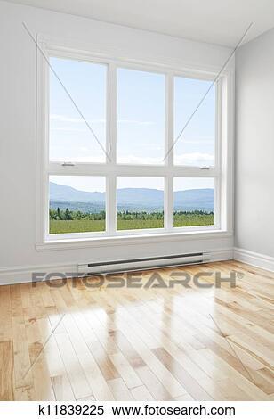 Banque d 39 image salle vide et t paysage vu par - Fenetre grand format ...