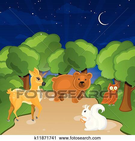 剪贴画 森林, 动物
