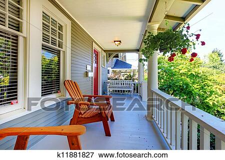 Front Porch Clipart picture of front porch of the grey house with white railings and